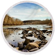 The New River At Whitt Riverbend Park - Giles County Virginia Round Beach Towel