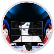 The New Year's Dream - Self Portrait Round Beach Towel
