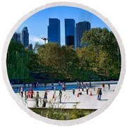 The New York Central Park Ice Rink  Round Beach Towel