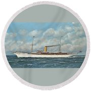 The New York Yacht Club Steam Yacht Vanadis At Sea Round Beach Towel