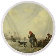 The Newa At Saint Petersburg In Winter Round Beach Towel