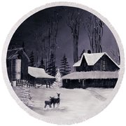 The Night Before Christmas Silvertoned Round Beach Towel
