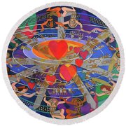 The Nine Lives Of The Heart Round Beach Towel
