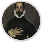 The Nobleman With His Hand On His Chest Round Beach Towel