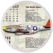 The North American P-51 Mustang V1 Round Beach Towel