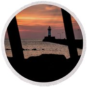 The North Pier Lighthouse Round Beach Towel