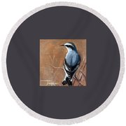 The Northern Wheatear  Round Beach Towel