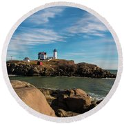 The Nubble 2 Round Beach Towel