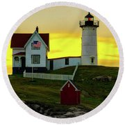 The Nubble Cape Neddick Lighthouse In Maine At Dawn Round Beach Towel