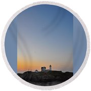 The Nubble Lighthouse Vertical Round Beach Towel