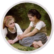 The Nut Gatherers Round Beach Towel by William-Adolphe Bouguereau