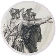 The Oath Of The Horatii, Detail Of The Horatii  Round Beach Towel