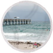 The Ocean Pier Round Beach Towel