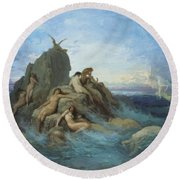 The Oceanides 1869 Round Beach Towel