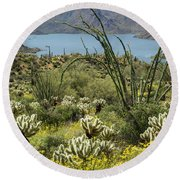 The Ocotillo View Round Beach Towel