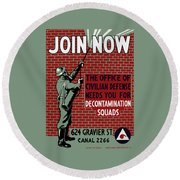 The Office Of Civilian Defense Needs You - Wpa Round Beach Towel