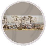 The Officers And Seaman Of The Fleet On Shore At Nargen Round Beach Towel