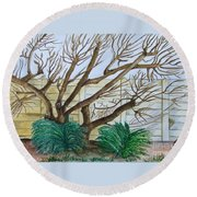 The Old Apricot Tree Round Beach Towel