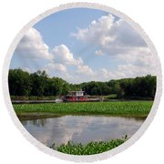 The Old Boat On The Mississippi River Round Beach Towel