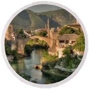 The Old Bridge Of Mostar  Round Beach Towel