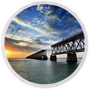 The Old Bridge Sunset - V2 Round Beach Towel