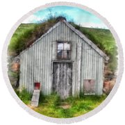 The Old Chicken Coop Iceland Turf Barn Round Beach Towel