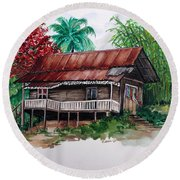 The Old Cocoa House  Round Beach Towel