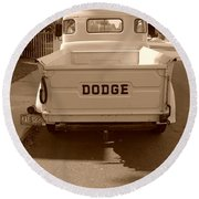 The Old Dodge Round Beach Towel