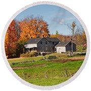 The Old Farm In Autumn Round Beach Towel