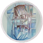 The Old Fishing Shack Round Beach Towel
