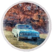 The Old Ford On The Side Of The Road Round Beach Towel