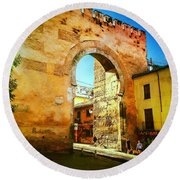 The Old Gate  Round Beach Towel