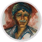 The Old Greek Man Round Beach Towel