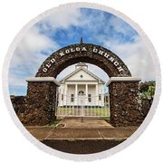 The Old Koloa Church Round Beach Towel