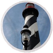 The Old Lantern And The Lighthouse Round Beach Towel