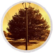 The Old Lantern In The Park Round Beach Towel