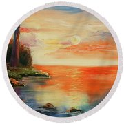 The Old Lighthouse  Round Beach Towel