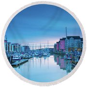 The Old Lock Gates Round Beach Towel