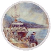 The Old Man And The Sea 01 Round Beach Towel