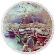 The Old Man And The Sea 02 Round Beach Towel
