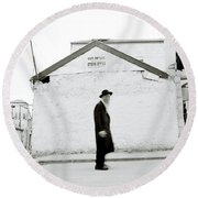 The Old Man Of Mea Shearim Round Beach Towel