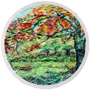 The Old Maple Tree Round Beach Towel