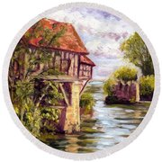 The Old Mill Of Vernon Round Beach Towel