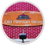 The Old Pittman Store Sign Round Beach Towel