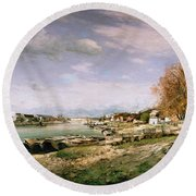 The Old Quay At Bercy Round Beach Towel