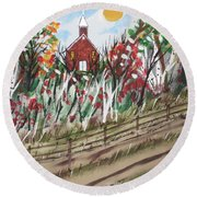 The Old Red Church Round Beach Towel