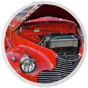 The Old Red Jalopy Round Beach Towel