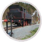 The Old Steam Locomotive Round Beach Towel
