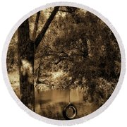 The Old Tire Swing Round Beach Towel