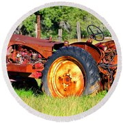 The Old Tractor In The Field Round Beach Towel